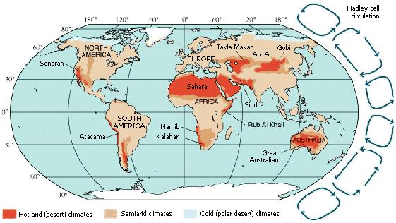 deserts globe hadley cell