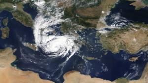 """Η τροχιά του μεσογειακού κυκλώνα """"Ιανός"""" από δορυφόρο (βίντεο)"""