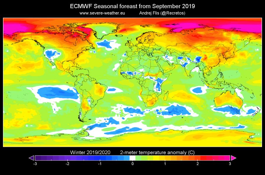 Σχήμα 2 - Μακροπρόθεσμη πρόγνωση ανωμαλίας της θερμοκρασίας στα 850mb από το ECMWF. Πηγή: SWE